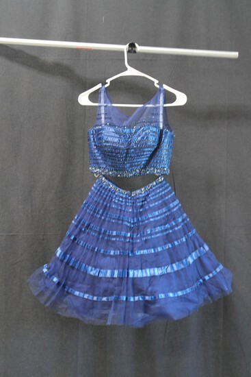Tony Bowls Navy Blue 2 Piece Sequined Mini Dress Size: 2
