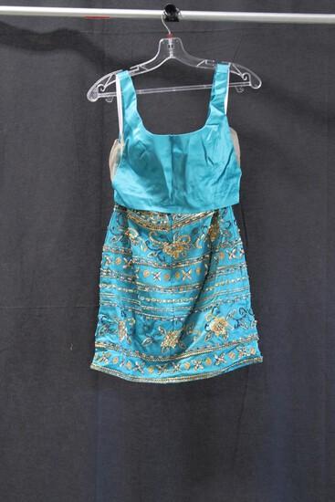 Rachael Allan Teal 2 Piece Sequined Mini Dress Size: 2