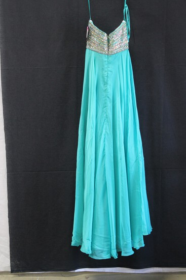 Night Moves Teal Strapless Chiffon Sequin Gown Size: 6
