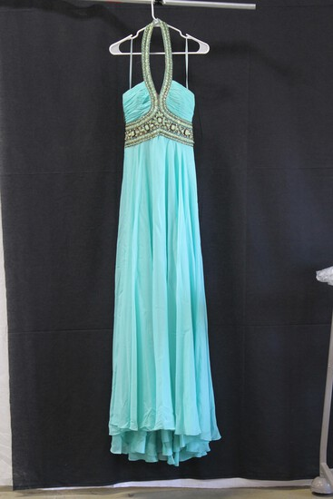 Madison James Teal Jeweled Halter Gown Size: 6