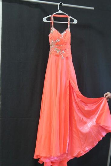 Macduggal Neon Coral Sequinedhalter Gown Size: 6