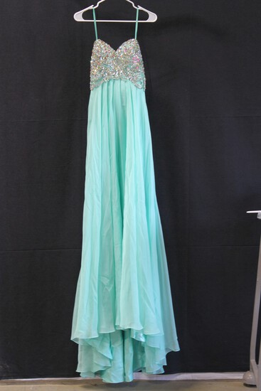 Angela And Alison Teal Strapless Jeweled Gown Size: 6