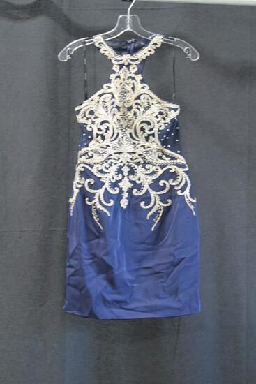Jovani Navy Blue Sequin Halter Mini Dress Size: 6
