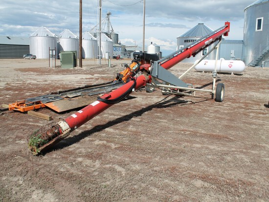 "FARMKING PORTABLE 10"" x 40' APPROX. TUBULAR GRAIN AUGER WITH WEG 15HP ELECTRIC MOTOR"