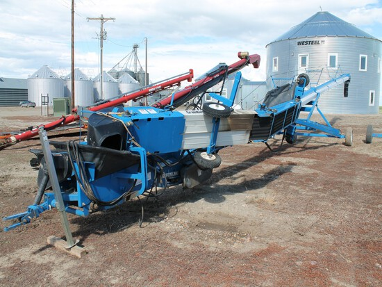 BRANDT GRAINBELT MODEL 1585 GRAIN AUGER WITH SPOUT DIVERTER & SWING AWAY TRANSFER GRAINBELT/HOPPER