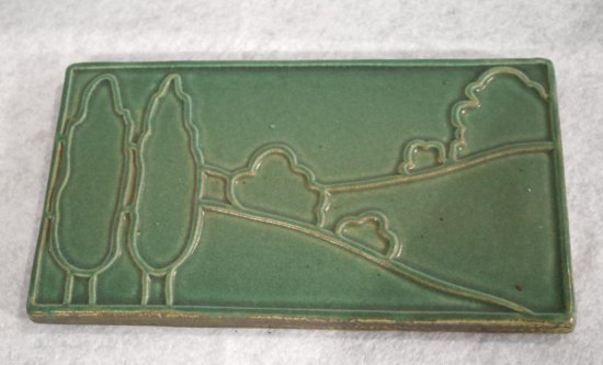 "Green Pewabic 10""x6"" Hanging Tile"