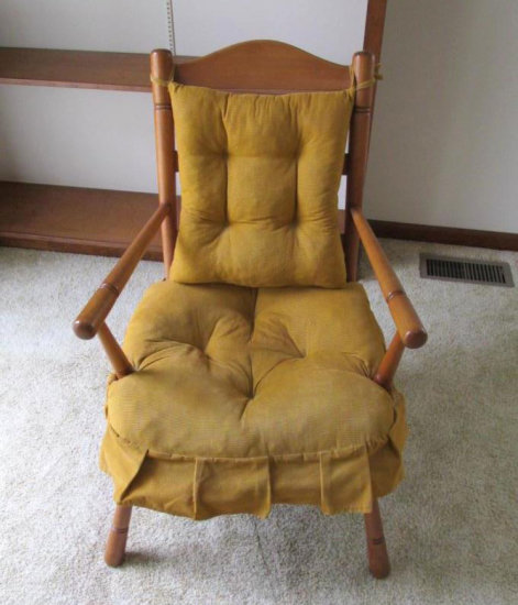 Country Style Ladder Back Mustard Upholstered Chair