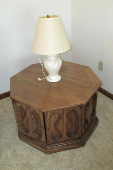 Fruitwood Octagonal End Table with Table Lamp