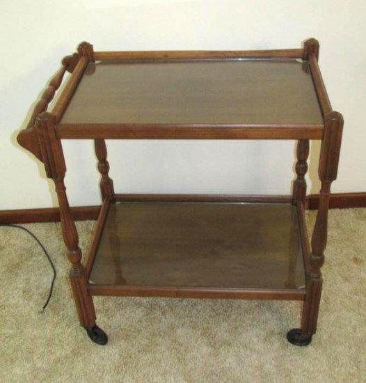 Glass Top And Wood Tea Cart