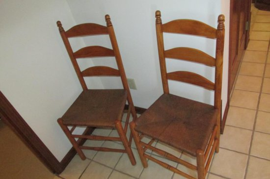 (2) Ladder Back Country Style Chairs