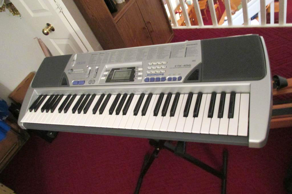 CTK-496 Casio Keyboard, Soft Case, & Stand