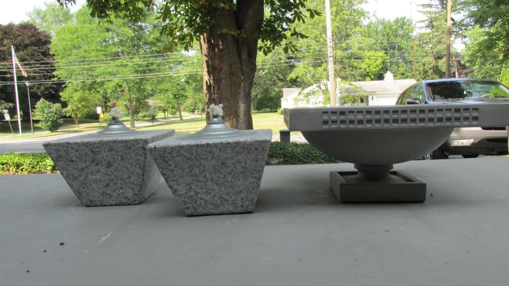 Frank Lloyd Wright Planter Pair Of Stone Oil Lamps G