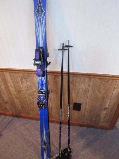 Purple Blue Skis With Matching Poles