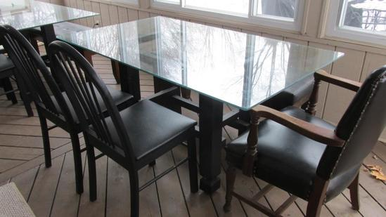 Glass Top Table, (3) Chairs And Bench - SNR