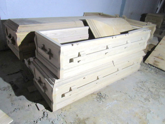 (14) Unfinished Wood Caskets