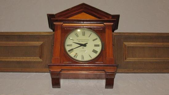 Large Wood Wall Lobby Clock - L