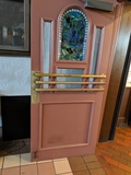 (2) Wood Doors with Stained Glass Inserts