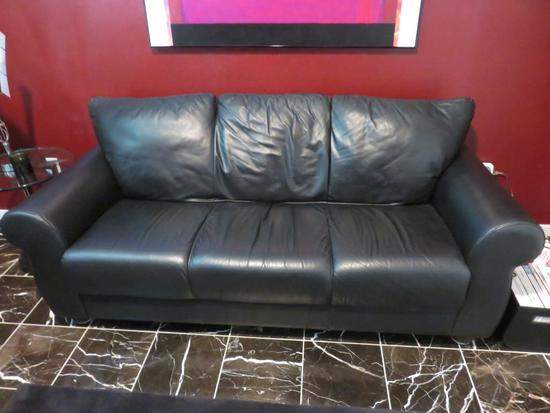 Black Leather Couch - L