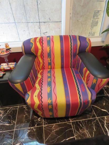 Southwestern-Style Partial Leather Chair