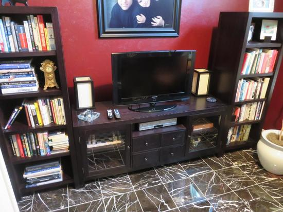 Large TV Unit Bookcase, Contents & TV Not Included