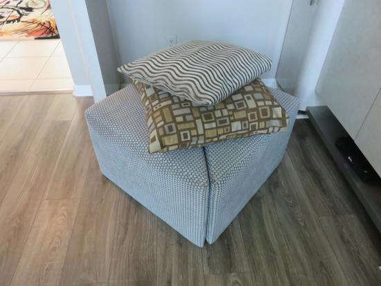 Pair Of Triangular Ottomans With Pillows