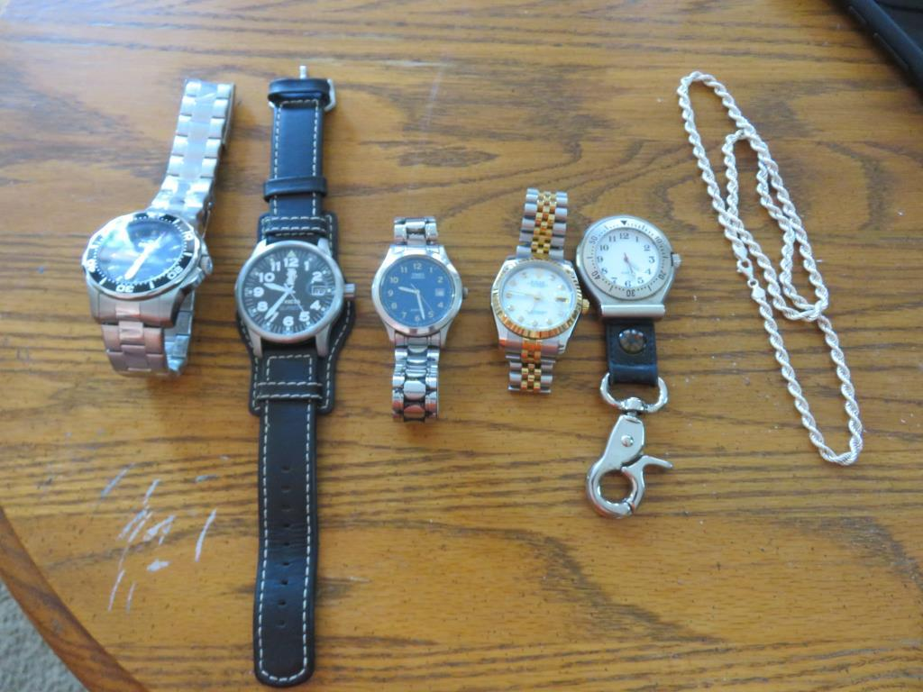 (5) Watches, And (1) Chain-LR