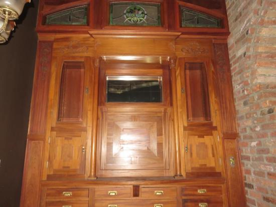 C - Oak Wood Wall Cabinet with (3) Stain Glass