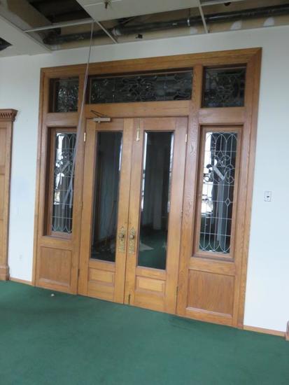 CU - Double Door Wood & Beveled Glass Entryway