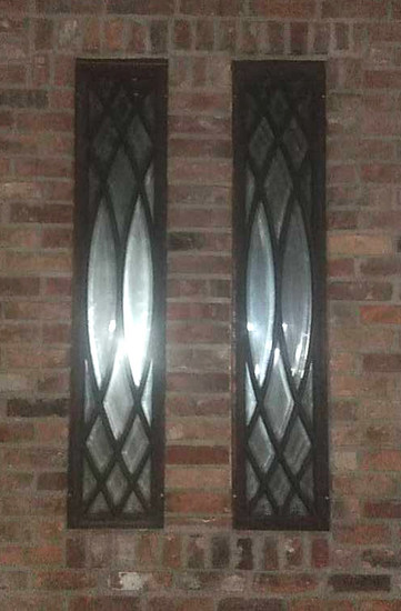CU - (2) Tall Wood Bevel Mirrors