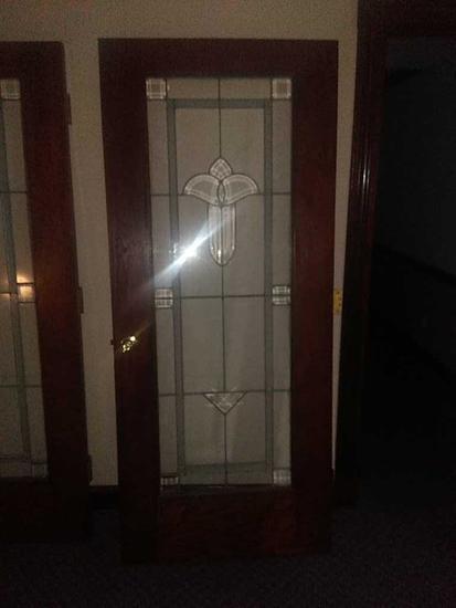 O - (6) Beveled & Leaded Glass/Wood Doors