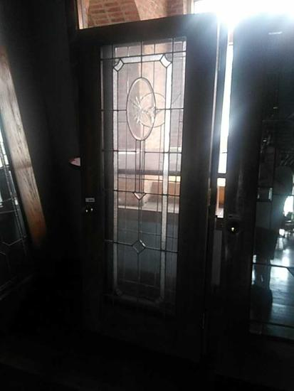 G - Etched & Beveled Glass Oak Door