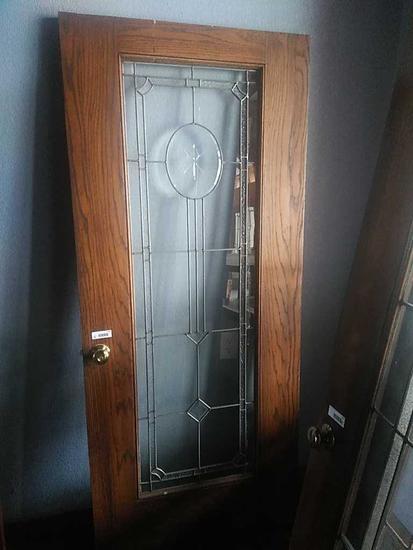 G - Beveled & Leaded Glass Oak Door
