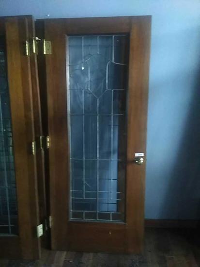 G - Leaded Glass Oak Door