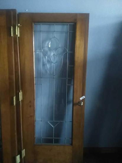 G - Leaded Beveled Glass Oak Door