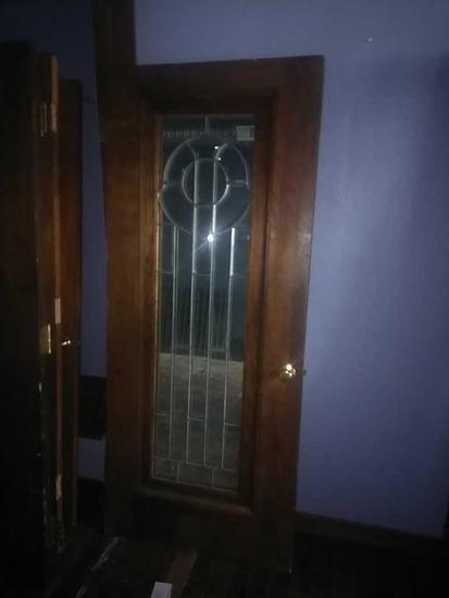 G - Beveled Leaded Mirrored Oak Door