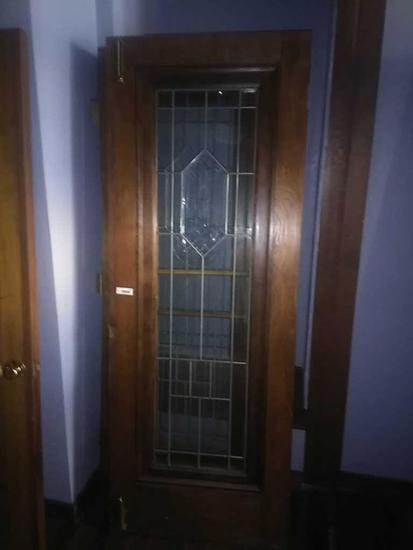 G - Pair Of Beveled Leaded Cut Glass Oak Door