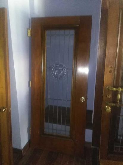 G - Beveled Leaded Cut Glass Oak Door