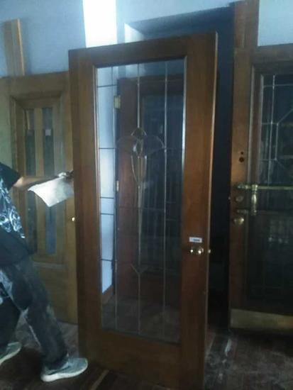 G - Beveled & Leaded Oak Door