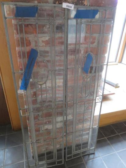 F - Leaded Beveled Glass Pair