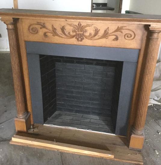 AA - Wood Fireplace & Mirror