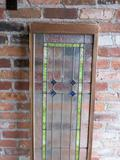 B - Frosted & Stained Glass Lead Window