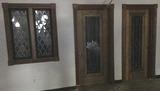 B - (2) Wood & Beveled Glass Doors
