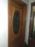 CU - Antique Oak Etched/Cut Glass Door