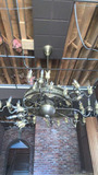 C - Tiffany-Style Brass Chandelier