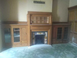 N - Oak Fireplace With Mirror & Bookcases