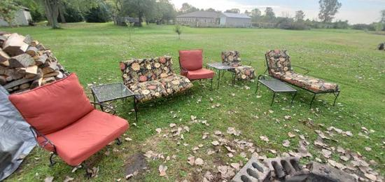 Outdoor black metal furniture with cushions