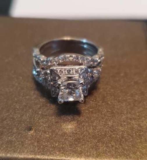 Wedding/Engagement Bridal Set Diamonds 14 KT White Gold Ring