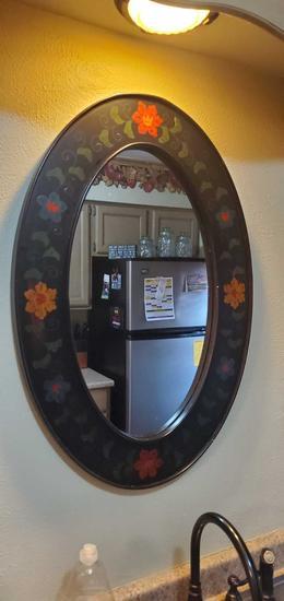 K- Pier One Embossed Wood Frame Mirror