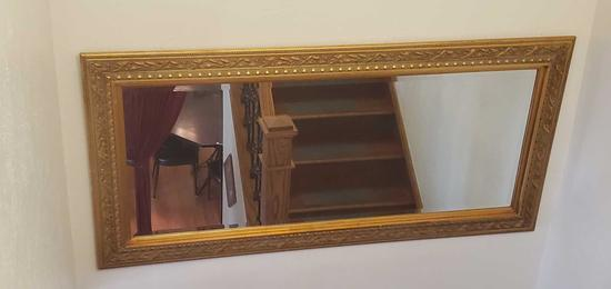 Landing- Large Gold Wood Framed Beveled Mirror