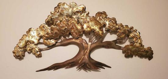 D- Brass Finish Bonsai Wall Hanging & Metal Sconces